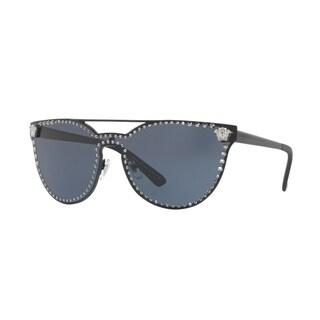 Versace Women's VE2177 100987 45 Gray Metal Cat Eye Sunglasses - Grey