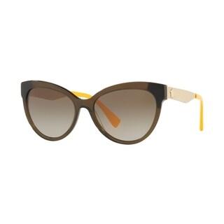 Versace Women's VE4338 524613 57 Brown Gradient Metal Cat Eye Sunglasses
