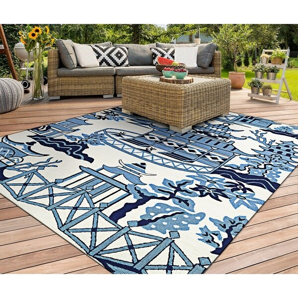 Miami Pagoda Blue-Ivory Indoor/Outdoor Area Rug - 2' x 4'