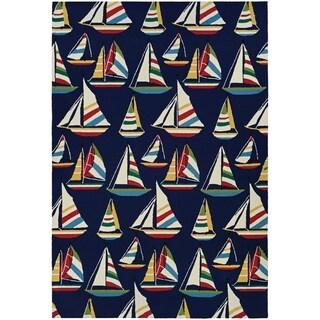 Couristan Outdoor Escape Yachting Navy Indoor/Outdoor Runner Rug (2'6 x 8'6)