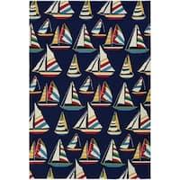 Couristan Outdoor Escape Yachting/Navy Indoor/Outdoor Runner Rug - 2'6 x 8'6