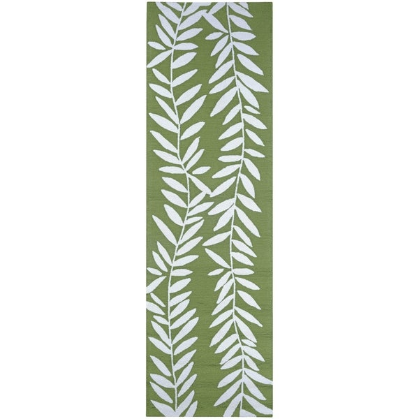 Bamboo Rug Runner: Shop Miami Bamboo Ivory-Green Indoor/Outdoor Runner Rug