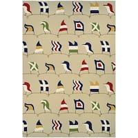 Couristan Outdoor Escape Nautical Flags/Sand Indoor/Outdoor Area Rug - 3'6 x 5'6'