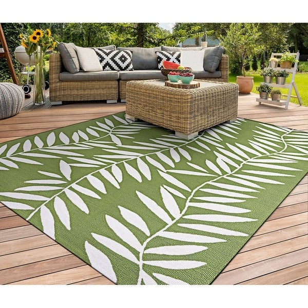 "Miami Bamboo Ivory-Green Indoor/Outdoor Area Rug - 3'6"" x 5'6"""