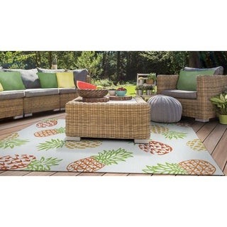 Miami Pineapples Multicolor Indoor/Outdoor Area Rug - 2' x 4'