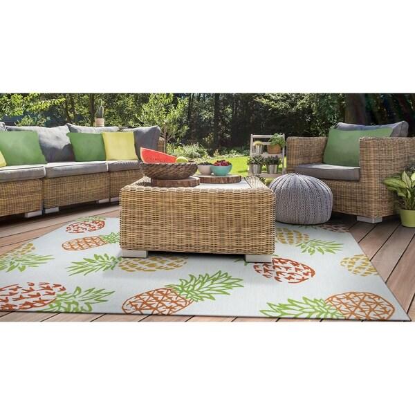 """Miami Pineapples Multicolor Indoor/Outdoor Area Rug - 5'6"""" x 8'"""