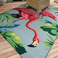 "Miami Flamingoes Pink-Blue Indoor/Outdoor Area Rug - 3'6"" x 5'6"""