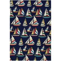 Couristan Outdoor Escape Yachting/Navy Indoor/Outdoor Area Rug - 5'6 x 8'