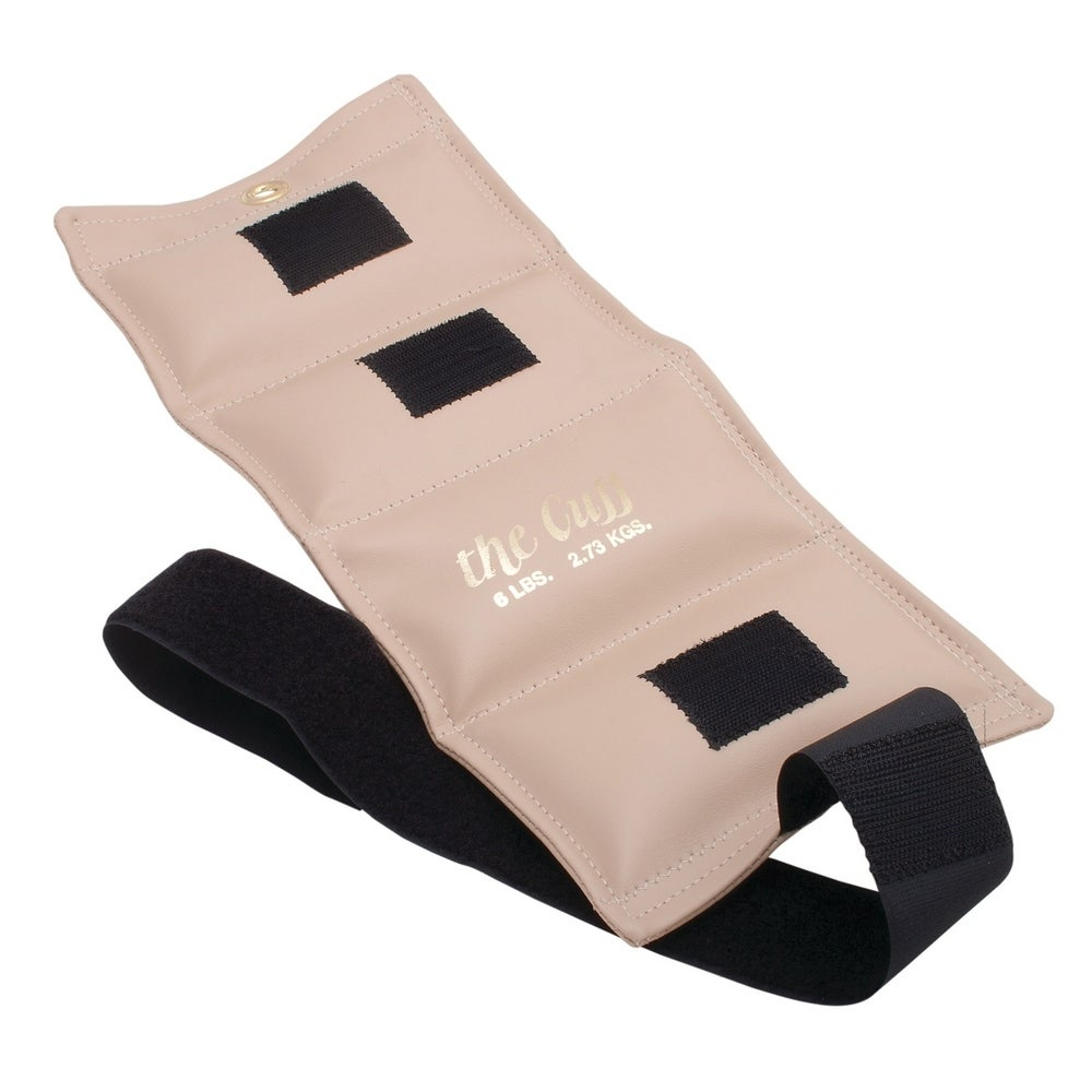 The Cuff Original Adjustable Ankle and Wrist Weight for Yoga, Dance, Running, Biking, Aerobics, Physical Therapy. 6 lb - Beige