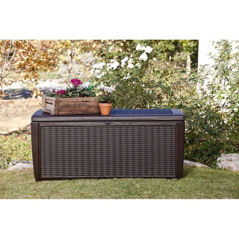 Keter Sumatra 135 Gallon Outdoor Storage Rattan Deck Box