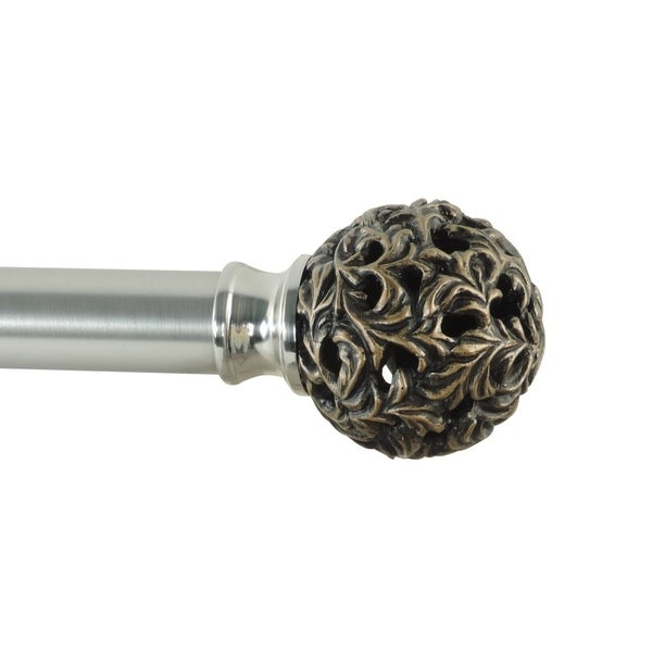 Torino adjustable single curtain rod with decorative finials