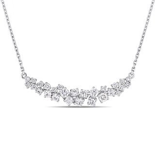 Miadora Signature Collection 14k White Gold 1 1/10ct TDW Diamond Clustered Journey Necklace