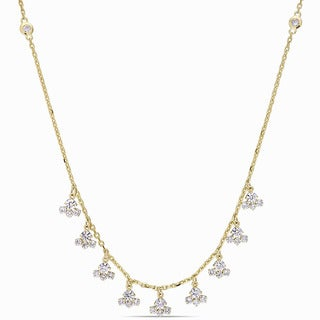 Miadora Signature Collection 14k Yellow Gold 1 1/3ct TDW Diamond Journey Dangle Necklace