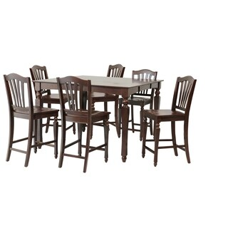 "7-Piece Solid Wood Counter Height Dining Set ""Onoway"", Modern Kitchen Table Set, Mahogany"
