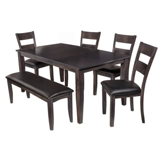 "6-Piece Solid Wood Dining Set ""Aden"", Modern Kitchen Table Set, Dark Gray"