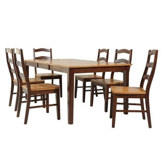 "7-Piece Solid Wood Dining Set ""Stettler"", Modern Kitchen Table Set, Espresso And Cinnamon"