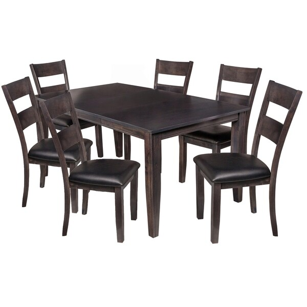 "7-Piece Solid Wood Dining Set ""Aden"", Modern Kitchen Table Set, Dark Gray"