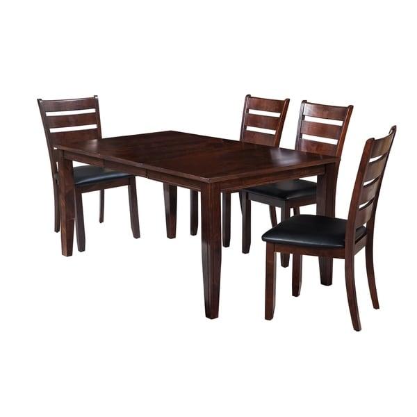 "5-Piece Solid Wood Dining Set ""Aden"", Modern Kitchen Table Set, Espresso"