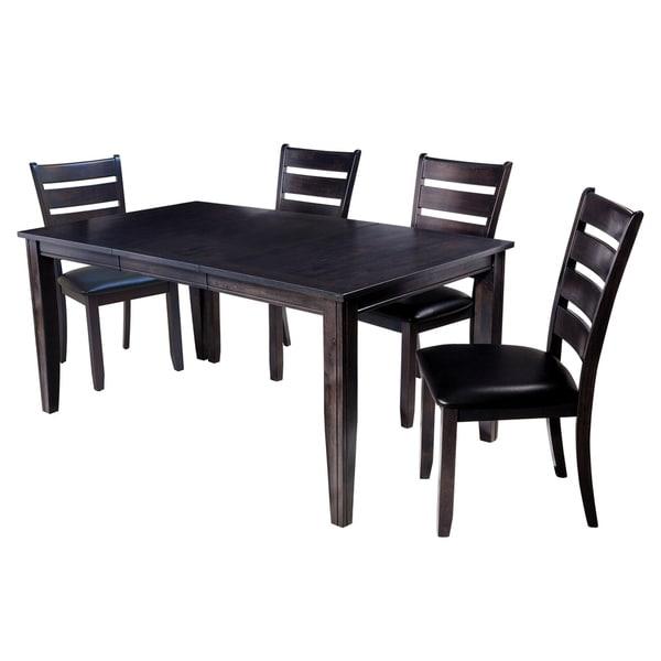 """5-Piece Solid Wood Dining Set """"Aden"""", Modern Kitchen Table Set, Dark Gray"""