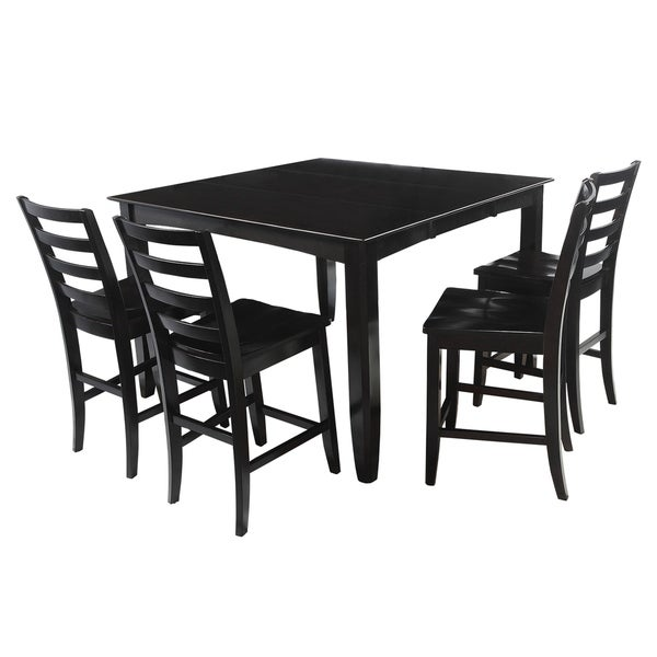 "5-Piece Solid Wood Counter Height Dining Set ""Ryley"", Modern Kitchen Table Set, Cappuccino"