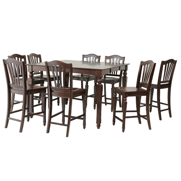 "Solid Wood Kitchen Table Sets: Shop 9-Piece Solid Wood Counter Height Dining Set ""Onoway"
