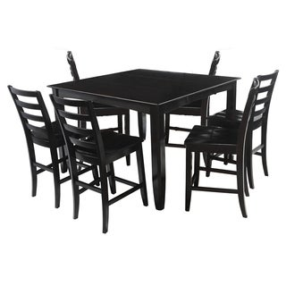 "7-Piece Solid Wood Counter Height Dining Set ""Ryley"", Modern Kitchen Table Set, Cappuccino"