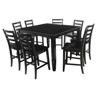 "9-Piece Solid Wood Counter Height Dining Set ""Ryley"", Modern Kitchen Table Set, Cappuccino"