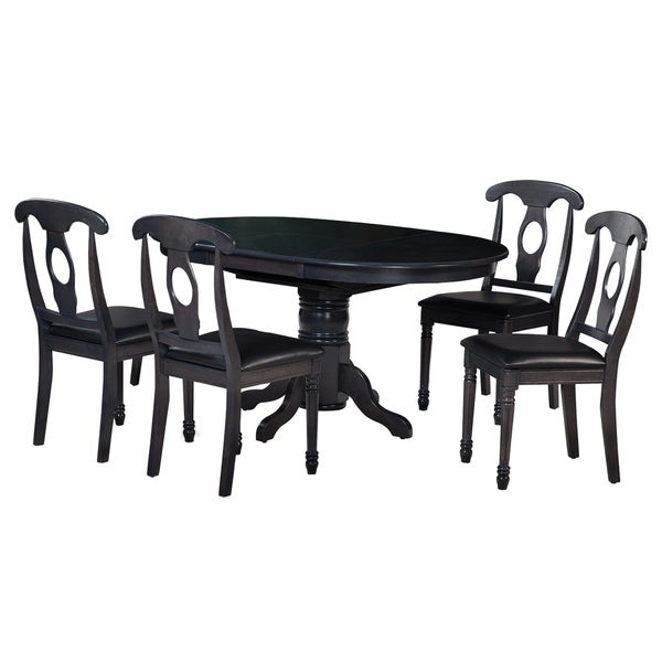 "5-Piece Solid Wood Dining Set ""Valleyview"", Modern Kitchen Table Set, Dark Gray"