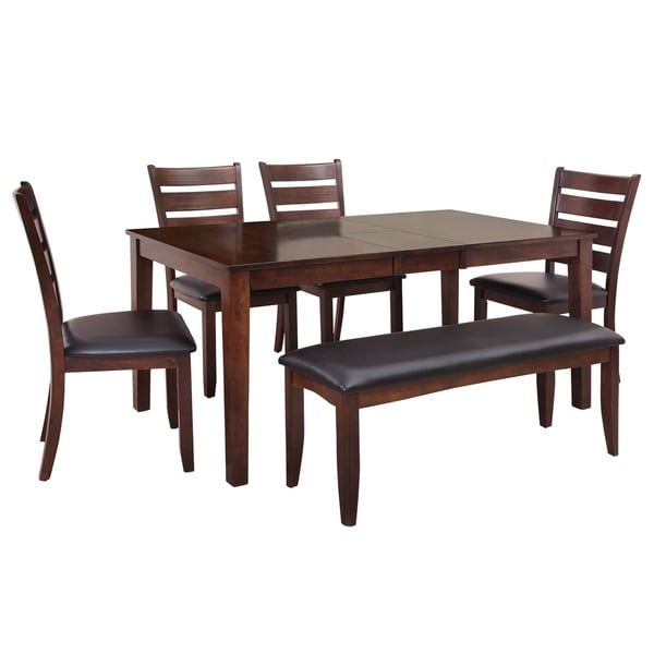 """6-Piece Solid Wood Dining Set """"Boswell"""", Modern Kitchen Table Set, Espresso"""