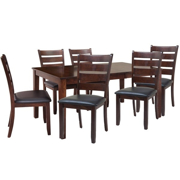 """7-Piece Solid Wood Dining Set """"Boswell"""", Modern Kitchen Table Set, Espresso"""