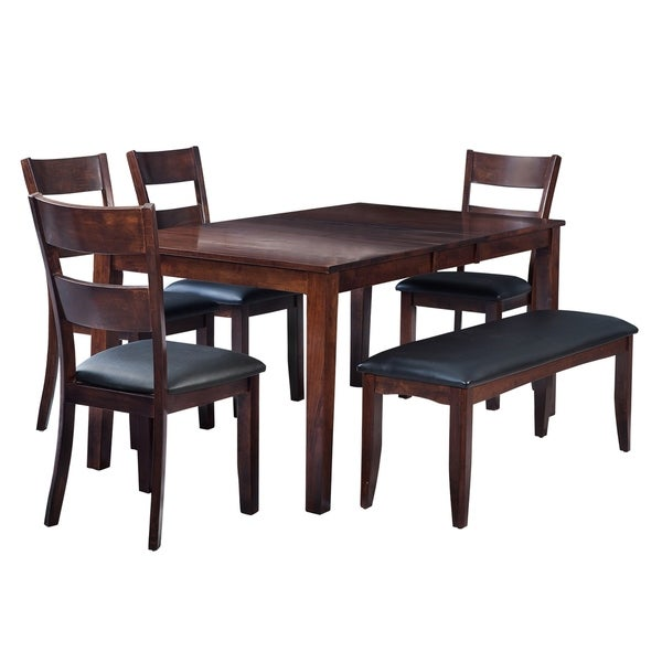 "6-Piece Solid Wood Dining Set ""Boswell"", Modern Kitchen Table Set, Espresso"