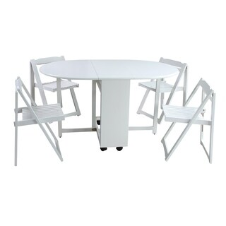 "5-Piece Solid Wood Dining Set ""Saviour"", Modern Kitchen Table Set, White"