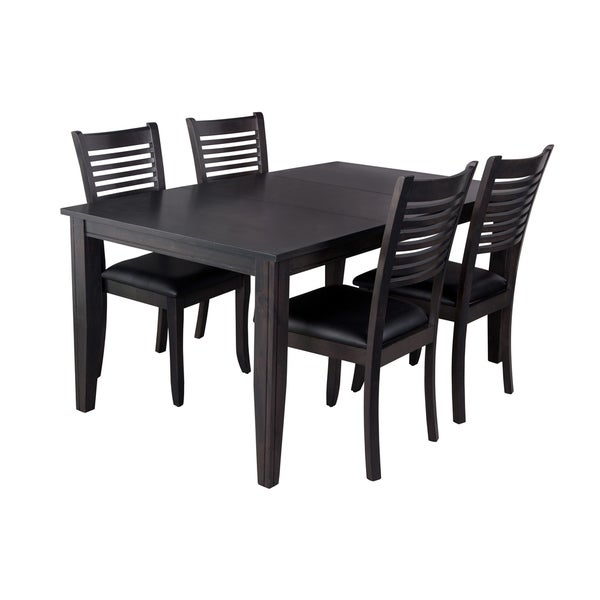 "5-Piece Solid Wood Dining Set ""Aden"", Modern Kitchen Table Set, Dark Gray"