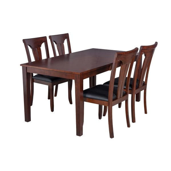"""Shop Black Friday Deals On 5-Piece Solid Wood Dining Set """"Boswell"""", Modern Kitchen Table Set, Espresso - Overstock - 17853519"""