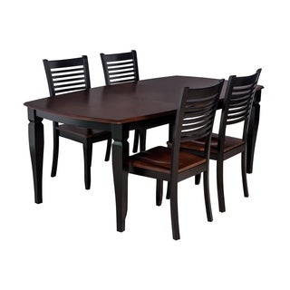 Victoria Dining Set In Distressed Light Cherry And Black (Set of 5)