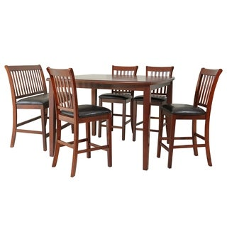 """6-Piece Solid Wood Counter Height Dining Set """"Gadsby"""", Modern Kitchen Table Set, Chest Nut"""
