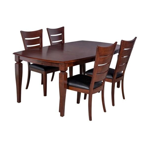 "5-Piece Solid Wood Dining Set ""Victoria"", Modern Kitchen Table Set, Espresso"
