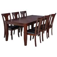 "7-Piece Solid Wood Dining Set ""Charlotte"", Modern Kitchen Table Set, Espresso"