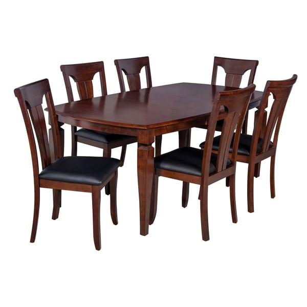 "7-Piece Solid Wood Dining Set ""Victoria"", Modern Kitchen Table Set, Espresso"