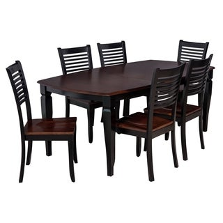 Victoria Dining Set In Distressed Light Cherry And Black (Set of 7)