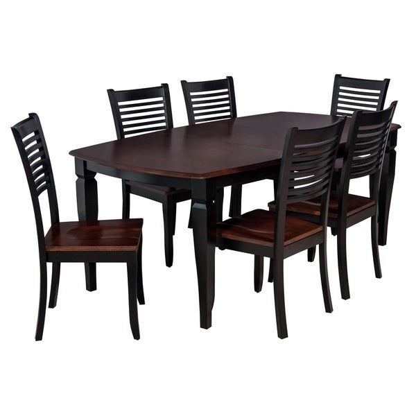 "7-Piece Solid Wood Dining Set ""Victoria"", Modern Kitchen Table Set, Distressed Light Cherry And Black"