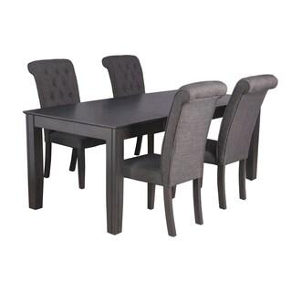Charlotte Dining Set In Dark Gray (Set of 5)