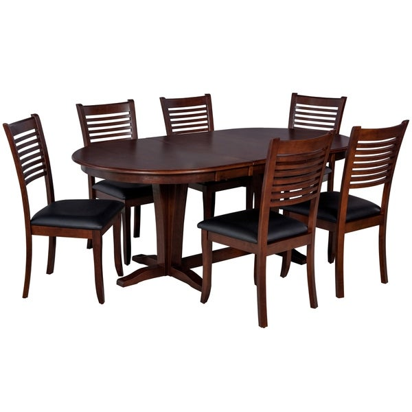 "7-Piece Solid Wood Dining Set ""Princeton"", Modern Kitchen Table Set, Espresso"