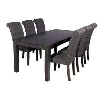 Charlotte Dining Set In Dark Gray (Set of 7)