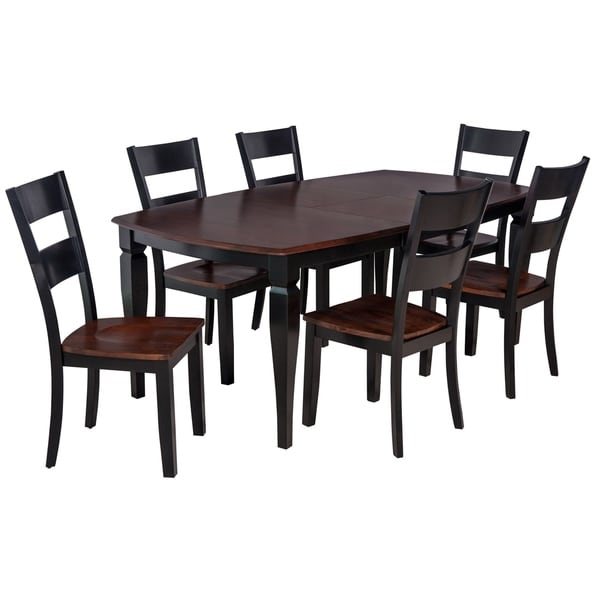 Shop 7 Piece Solid Wood Dining Set Victoria Modern Kitchen Table Distressed Light Cherry And Black