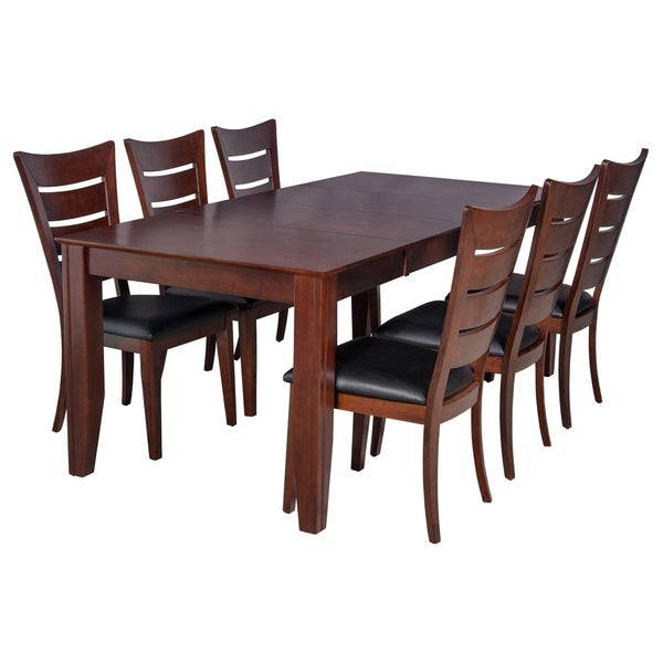 "7-Piece Solid Wood Dining Set ""Charlotte"", Modern Kitchen Table Set, Espresso"