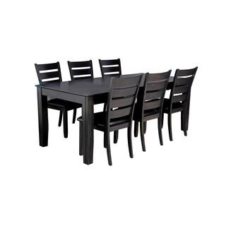 "7-Piece Solid Wood Dining Set ""Charlotte"", Modern Kitchen Table Set, Dark Gray"
