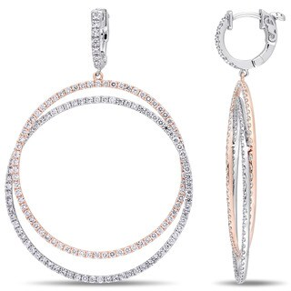 Miadora Signature Collection 2-Tone 14k White and Rose Gold 3-3/5ct TDW Diamond Double Hoop Dangle Earrings