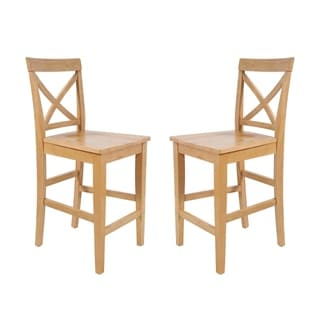Tropical Hardwood Dining Chairs Counter Height In Oak (Set of 2)