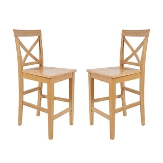 Solid Wood Counter Height Sturdy Dining Chair / Modern Kitchen Chair, Oak (Set of 2)